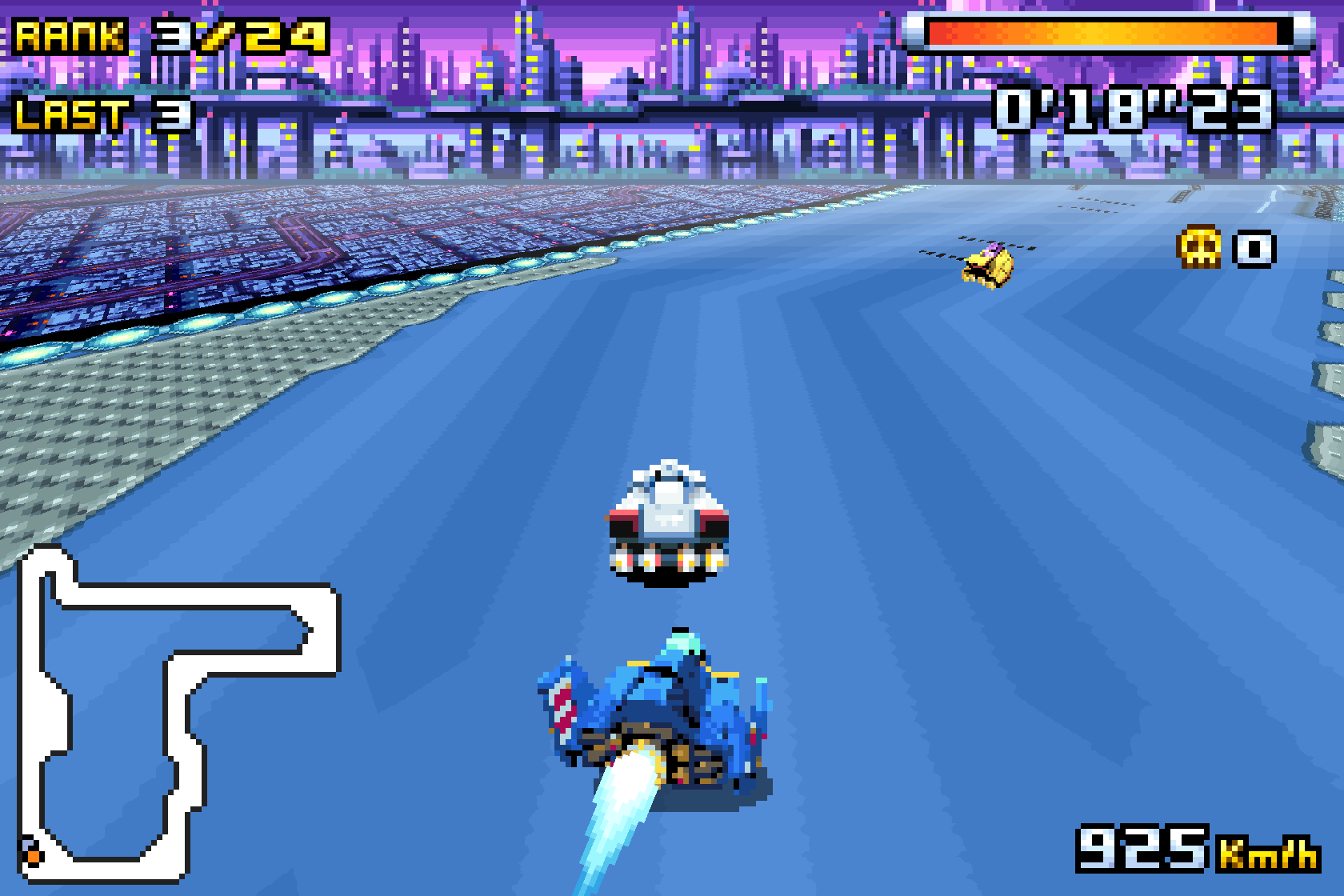 "F-Zero: Climax takes advantage of rotated sprites in addition to ""mode 7"" effects"