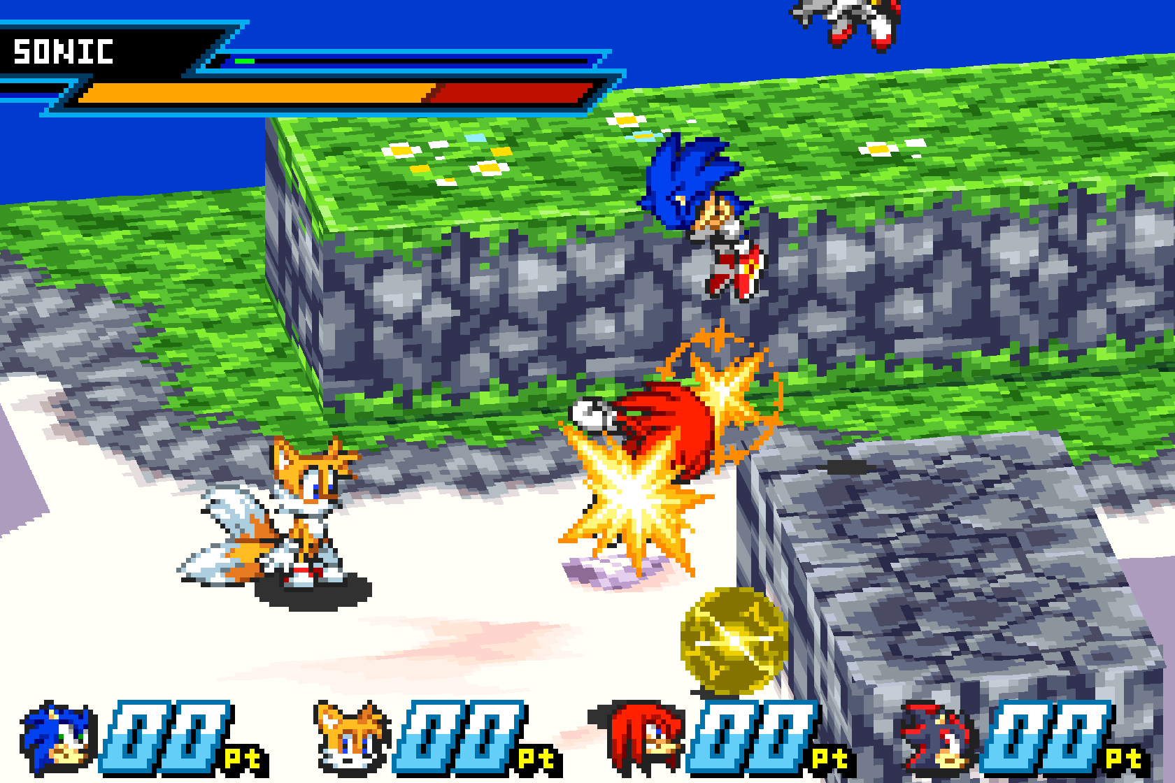 Sonic Battle uses affine sprites to create the arena
